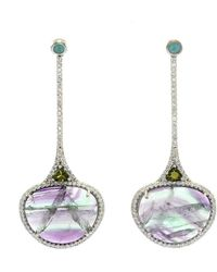 Ri Noor - Mixed Gemstone Drops And Diamond Earrings - Lyst