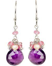 Mishanto London - Cari Rose Quartz Pearl And Amethyst Drop Earrings - Lyst