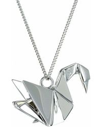 Origami Jewellery - Swan Silver Necklace - Lyst