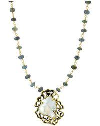 Elisa Ilana Jewelry - Pearl & Moss Aquamarine Necklace - Lyst