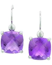London Road Jewellery - Bloomsbury White Gold Rose Amethyst Drop Earrings - Lyst
