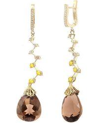 Nehita Jewelry - Brown Quartz Ziggy Earrings - Lyst