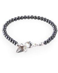 Loushelou - Hematite Bracelet With Silver Leaf Charm - Lyst