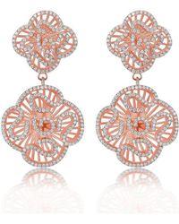 Fei Liu - Cascade Double Unit Earrings In 18kt Rose Gold Plate - Lyst