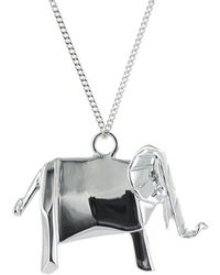 Origami Jewellery - Elephant Silver Necklace - Lyst