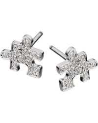 Akillis - Mini Puzzle White Gold With Diamonds Clip Earrings - Lyst