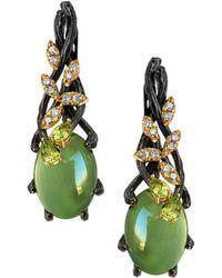 Chekotin Jewellery - Gold & Prehnite Green Eden Drop Earrings   - Lyst