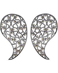 Sonal Bhaskaran - Jaali Ruthenium & Yellow Cubic Zirconia Paisley Earrings - Lyst