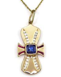 Donna Pizarro Designs 14kt Mandarin Garnet And Diamond Cross Necklace ZNzJU