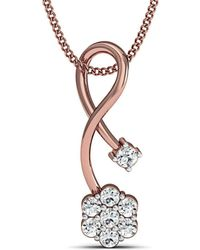 Diamoire Jewels Prong Set 18kt Rose Gold Diamond Pendant 9cuApx3