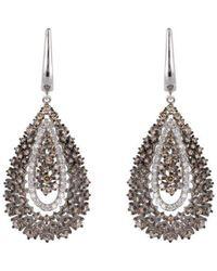 Arya Esha - White Gold & Champagne Diamond Victoria Drop Earrings   - Lyst