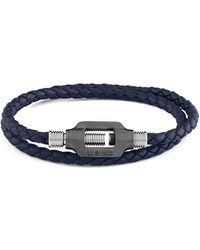 Tateossian - Silver & Navy Leather Double Bolt Silver Bracelet | - Lyst
