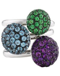 London Road Jewellery - Designer White Gold Multi Colour Ball Ring Trio - Lyst
