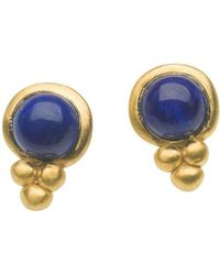 Naomi Tracz Jewellery - Yellow Gold Plated Silver Lapis Lazuli Circle & Orb Studs - Lyst