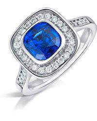 Clearwater Diamonds - Sapphire And Diamond Vintage Style Cluster Ring - Lyst