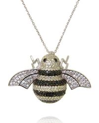 Cosanuova - Rhodium Plated Sterling Silver Busy Bee Necklace - Lyst