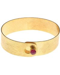 Isla - Small Minimalist Bangle With Onyx Rani - Lyst