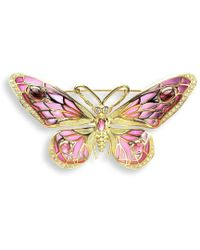 Nicole Barr - 18kt Gold Butterfly Red Brooch - Lyst