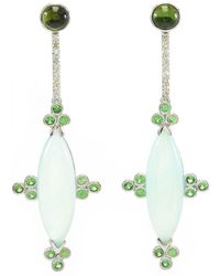 Ri Noor - Blue Chalcedony With Tsavorite And Diamond Earrings - Lyst