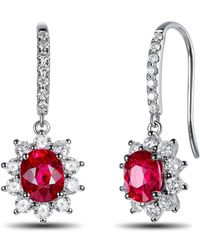 SILVER YULAN - Ruby Diamond Cluster Earrings - Lyst