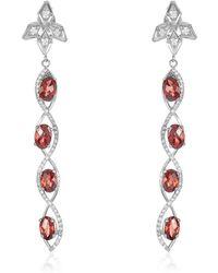 Nehita Jewelry - Sizzle Oval Shaped Garnet & Diamond Earrings - Lyst