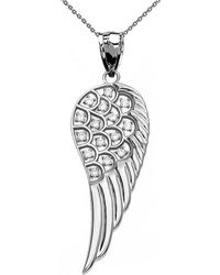 QP Jewellers - Diamond Angel Wing Pendant Necklace In 9kt White Gold - Lyst