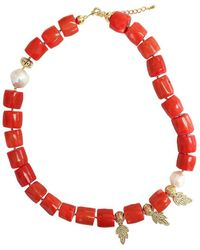 Farra - Bamboo Coral Pendant Necklace With 14kt Gold Plated Brass Leaves - Lyst