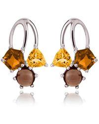 MANJA Jewellery - Kintana Citrine, Cognac Quartz & Smoky Quartz Earrings - Lyst