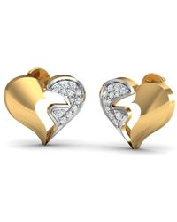 Diamoire Jewels 18kt Yellow Gold 0.14ct Pave Diamond Infinity Earrings With Sapphire tYBn6ryB