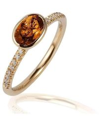 Goshwara - Gossip Citrine Oval Stackable Rings With Diamonds - Lyst