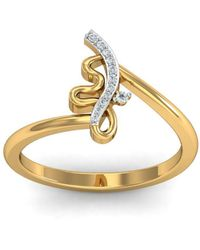 Diamoire Jewels - 18kt Yellow Gold Pave 0.04ct Diamond Infinity Ring Ii - Lyst