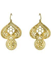 Murkani Jewellery - Lace Doily Gold Large Earrings - Lyst