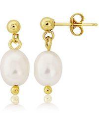 Lavan - 9kt Gold White Pearl Drop Earrings - Lyst