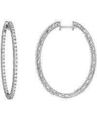 Penny Preville - Oval Diamond White Gold Hoop Earrings - Lyst
