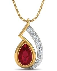 Diamoire Jewels - Nature Inspired Prong Set African Ruby And Diamond Pendant In 10kt Yellow Gold - Lyst