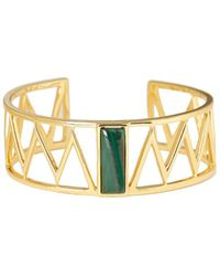 Alexandra Alberta - Yellow Gold Plated Guggenheim Cuff With Malachite - Lyst