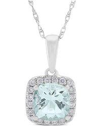Marmalade Fine Jewellery - 14kt White Gold, Diamond And Aquamarine Pendant - Lyst