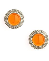 Syna - 18kt Orange Chalcedony Earrings With Champagne Diamonds - Lyst