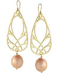 Elisa Ilana Jewelry - Yellow Gold & Fireball Pearl Branch Earrings | - Lyst