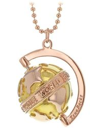 True Rocks - Medium Yellow & Rose Gold Plated Silver Revolving Globe Pendant - Lyst