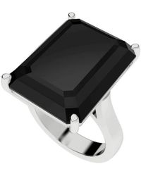 StyleRocks - Onyx Emerald Cut Sterling Silver Cocktail Ring - Lyst
