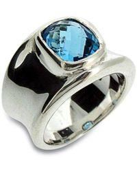 Will Bishop Molten Silver & Blue Topaz Ring - UK G - US 3 3/8 - EU 45 1/4 grJjdlii