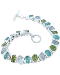 Reeves and Reeves | Rough Peridot, Aquamarine And Apatite Bracelet | Lyst
