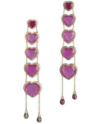 Maria Kovadi Fine Jewellery - Ruby Heart Earrings - Lyst