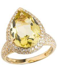 Emily Mortimer Jewellery | Aqua Lemon Quartz And Diamond Ring | Lyst