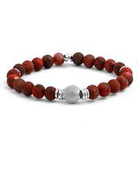 Tateossian - Silver & Red Bead Stonehenge Bracelet - Lyst