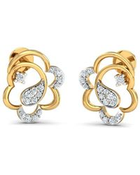 Diamoire Jewels 18kt Yellow Gold 0.16ct Pave Diamond Infinity Earrings I