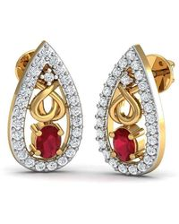 Diamoire Jewels - African Oval Cut Ruby And Diamond Earrings Hand-carved In 18kt Yellow Gold - Lyst
