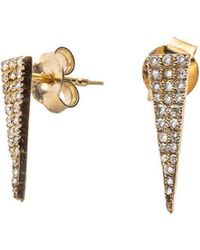 Nadean Designs - White Pave Diamond 14kt Yellow Geometric Triangle Earring - Lyst