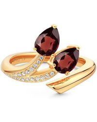 Fei Liu - Yellow Gold Plated Shooting Star Red Garnet Two Stone Open-end Ring - Lyst